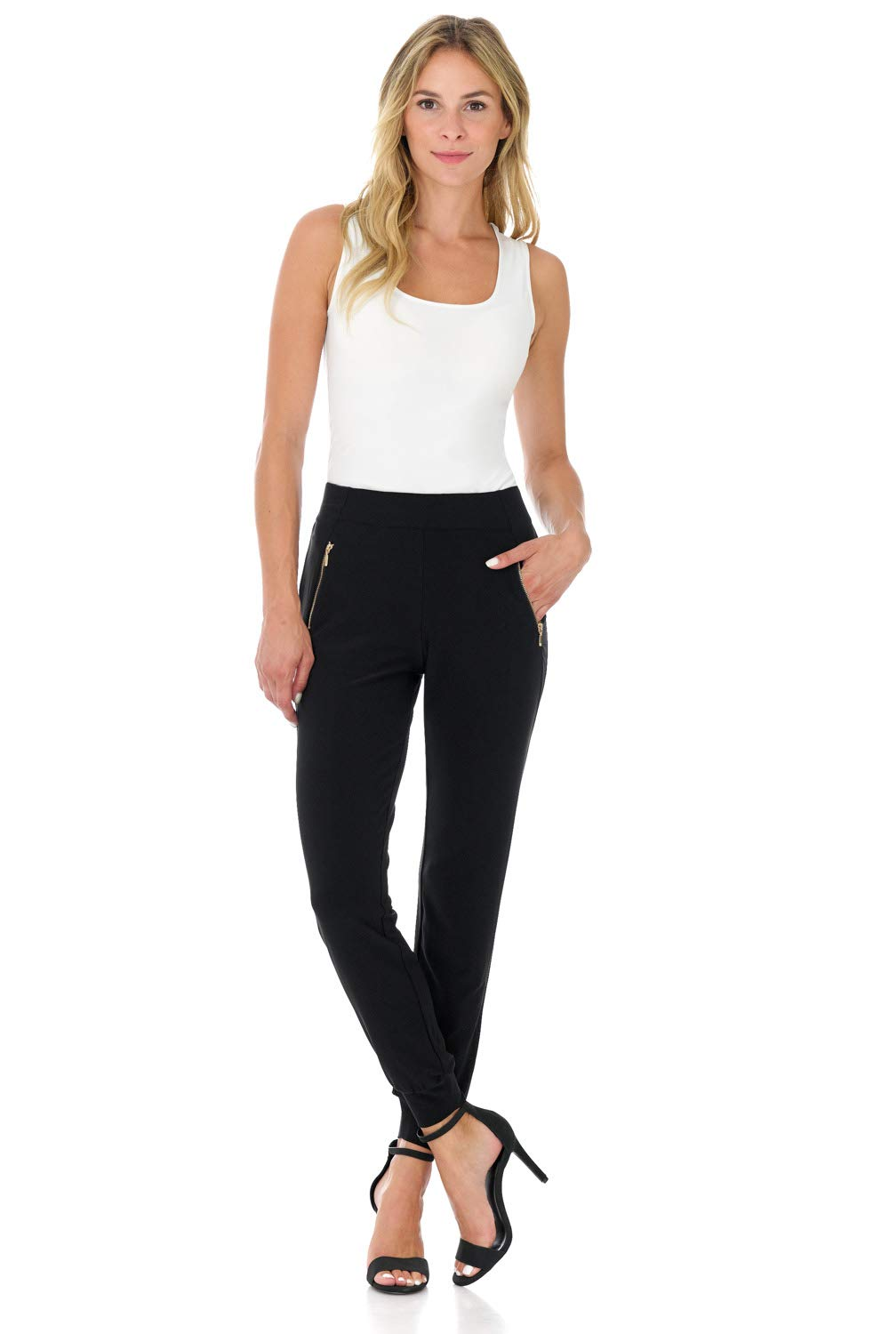 a2079983eb2 Rekucci Travel in Style - Women s Soft Chic Pant with Zipper Pockets  (Medium