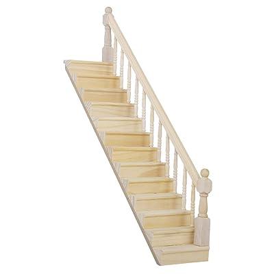 1/12 Dollhouse Escalera de Madera para Casa de Muñecas Escalera con Baranda Derecha: Juguetes y juegos