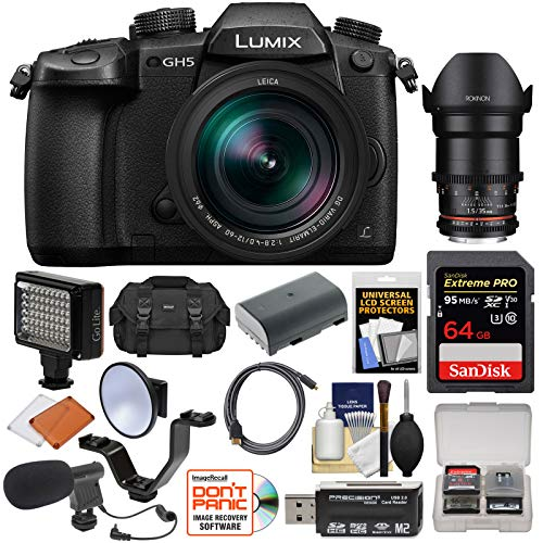 Panasonic Lumix DC-GH5 Wi-Fi 4K Digital Camera & 12-60mm f/2.8-4.0 with 35mm T/1.5 Lens + 64GB Card + Case + Flash + Video Light + Battery + Mic Kit