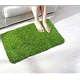 WI INTERNATIONAL Plastic Artificial Grass Bath/Door Mat (Green, 16x24 Inches)
