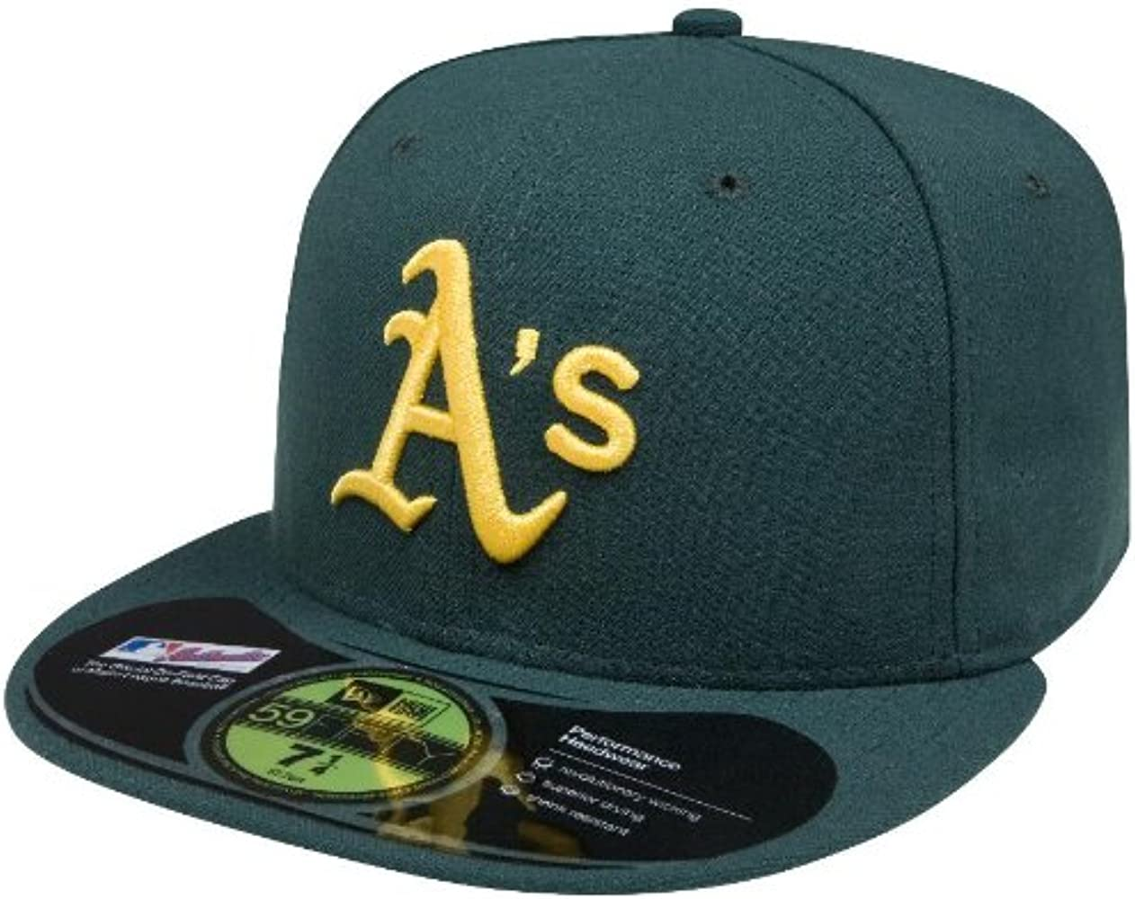 New Era Oakland Athletics ROAD 59Fifty Fitted Hat Green MLB Cap 7 3//8