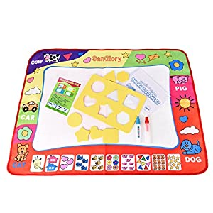 SanGlory Aqua Doodle Mats Magic Water Drawing Mat Large 32x24in Painting Pad with 2 Pens 6 Molds Kids Educational Learning Travel Toy Gift for Boys Girls Toddlers Old Toddler Toys