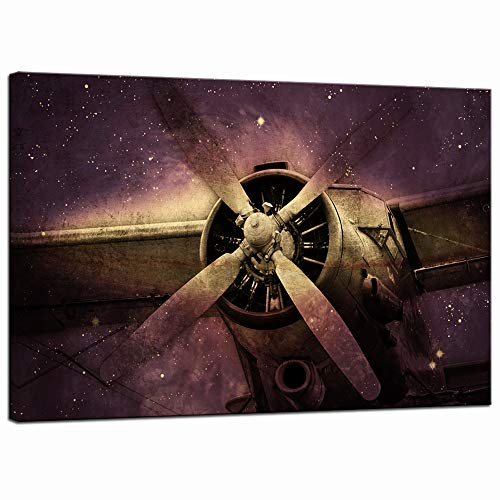 LevvArts - Vintage Canvas Print Wall Art Fighter Bomber Propeller Picture Painting Airplane Engine with Galaxy Background Poster Canvas Art for Man Boys Bedroom Home Office Room Wall Decor (Purple)