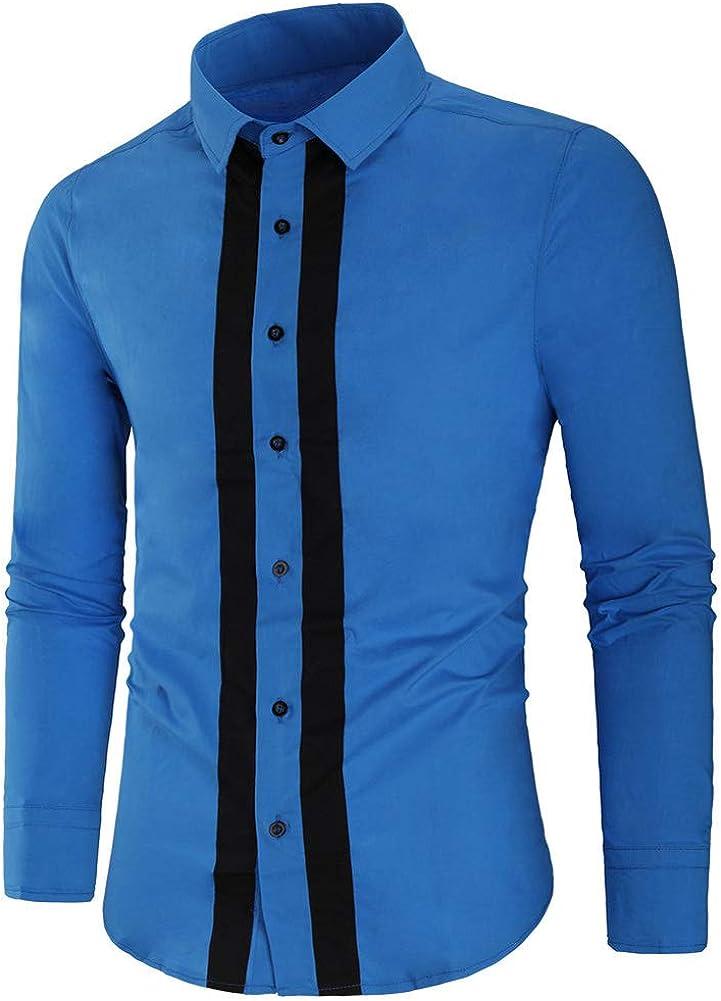 Camisa de algodón para Hombre Camisas de Manga Larga con ...