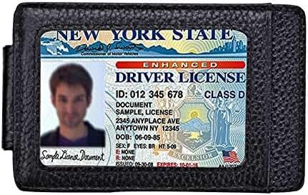Magicmoon Mens Slim Leather RFID Blocking Front Pocket Wallet Credit Card Holder