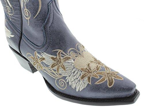 Stivali Da Cowboy In Pelle Ricamati Blu Denim Con Cuore E Ali Blu Denim