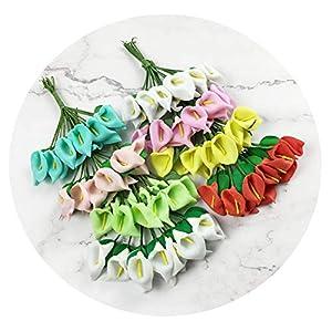 Zalin 12Pcs Mini Foam Artificial Flowers Bride Flowers Bouquet Wedding Car Home Decor Scrapbooking DIY Supplies Fake Flowers 88