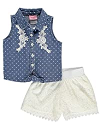 "Nannette Baby Girls' ""Crocheted Denim"" 2-Piece Outfit"