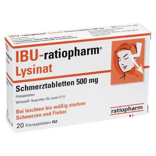 Ibu Ratiopharm Lysinat Schmerztabl.500 Mg 20 St