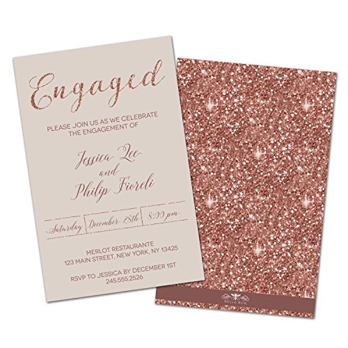 (Set of 10 Rose Gold Sparkle Personalized Engagement Party Invitations)