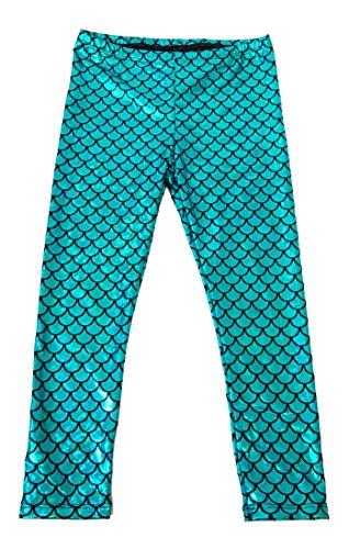 Aribella Collection Girls Little Mermaid Fish Scale Leggings Size 6 Aqua Blue Color