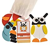 Creative Animals Themed Pattern Blocks-Puzzles for Preschool and Elementary School Kids, with 20 Idea Cards and 1 Pouch