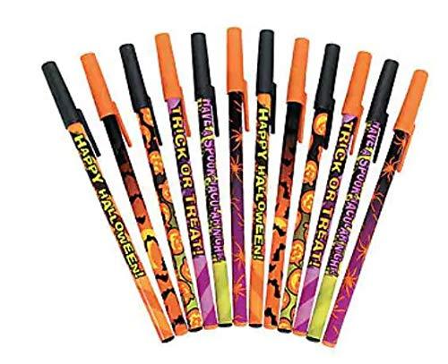 Fun Express Halloween Pen Assortment - Pack of 72 Halloween Stick Pens -