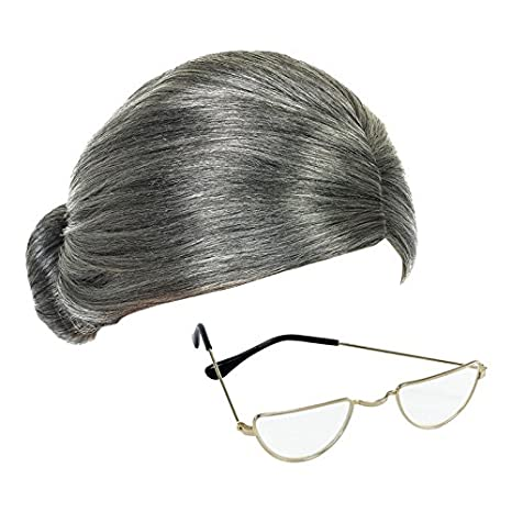 Grey Granny Wig and Half-Moon Glasses Mrs Claus Fancy Dress Accessories by  Robelli 33b1af27d94a