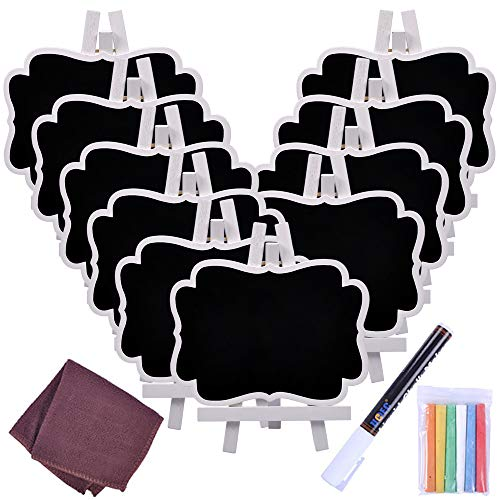 Chalkboard Sign, UCEC Mini Small Chalkboard Easel, 10 PCS Wood Framed Rectangle Message Board Signs Place Cards for Weddings, Parties, Table Numbers, Food Signs, Special Event Decoration with Easel