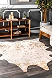 "cow skin rug nuLOOM BIBR01A Iraida Faux Cowhide Shaped Rug, 3' 10"" x 5', Off-White"