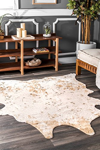 "nuLOOM BIBR01A Iraida Faux Cowhide Shaped Rug, 3' 10"" x 5', Off-White"