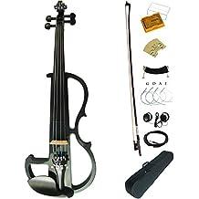 Leeche Premium Solid Wood Electric Violin Full Size 4/4 Advanced Intermediate Electric Silent Carbon Fiber Violin Kit With Case,Bow,Rosin,headphones,Shoulder Rest,Strings,Finger Guide