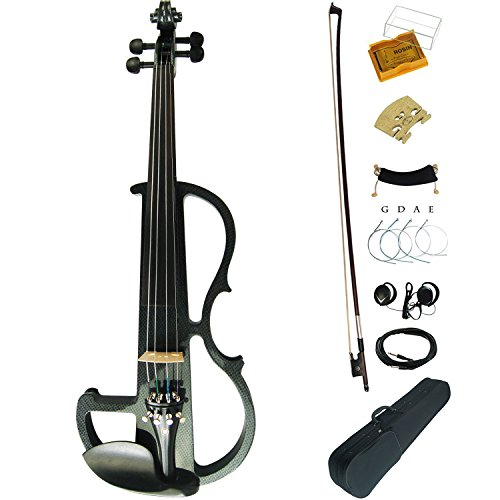 Aliyes Premium Silent Electric Violin 4/4 Full Size Violinist/Student Violin For Beginner Solid Wood Violin Kit String,Shoulder Rest,Rosin--Carbon fiber by Aliyes