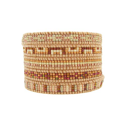 Chan Luu Seed Bead Multi Wrap Bracelet Necklace Rose and Tan Leather ()