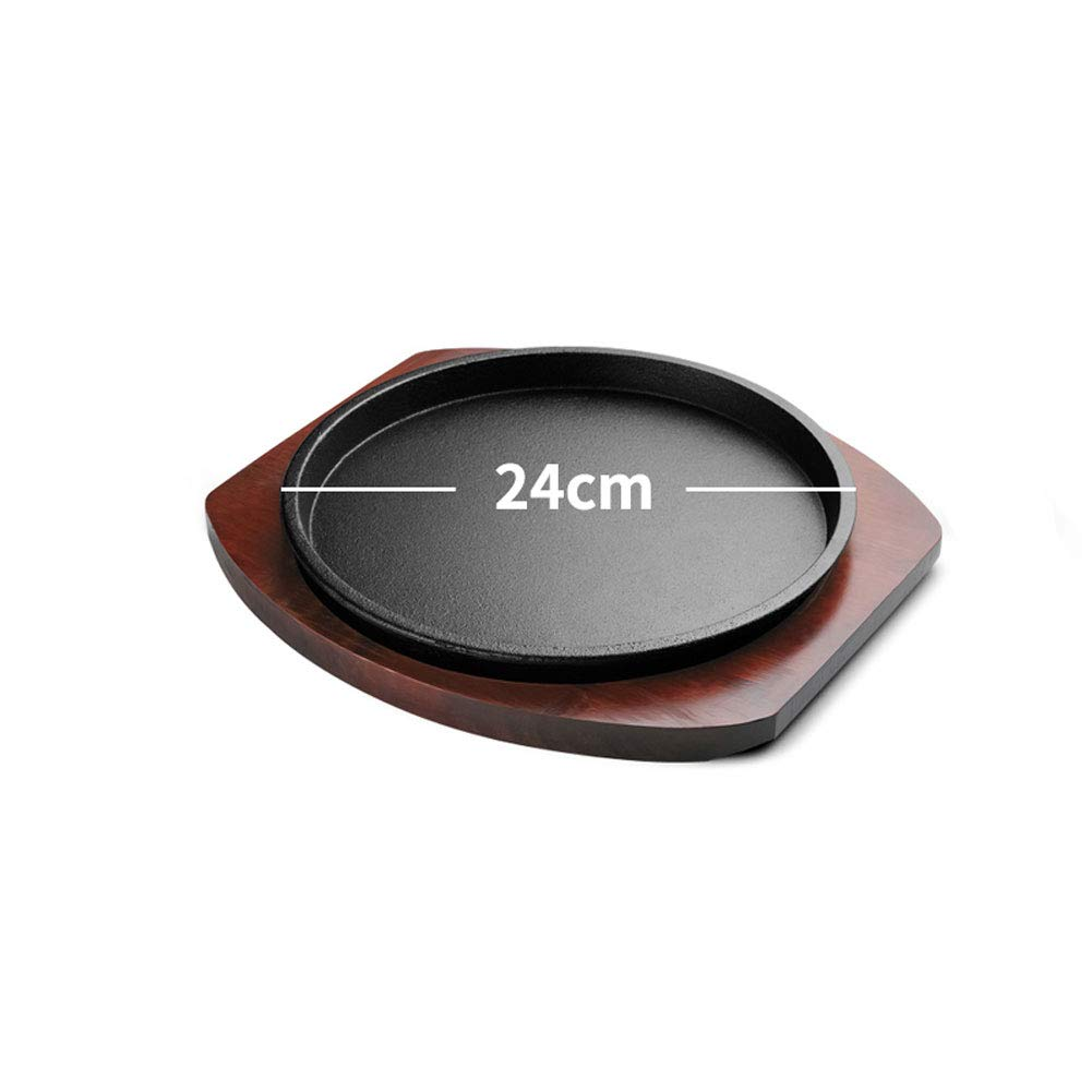 Platter Cast Iron Steak Skillet Serving Plate Kitchen Asian Style Mini Cast Iron Serving Dish with Wooden Serving Board Perfect for Cooking Steaks Seafood Fajitas Vegetables and More 2 Set