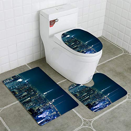 BEISISS Bathroom Mat Sets 4 Piece-Non-Slip - Short Plush Manhattan from The roof top Bathroom Rug + Contour pad + lid Toilet seat+Toilet seat Cushion