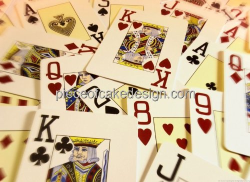 8' Round ~ Casino Playing Cards Background Birthday ~ Edible Cake/Cupcake Topper!!!