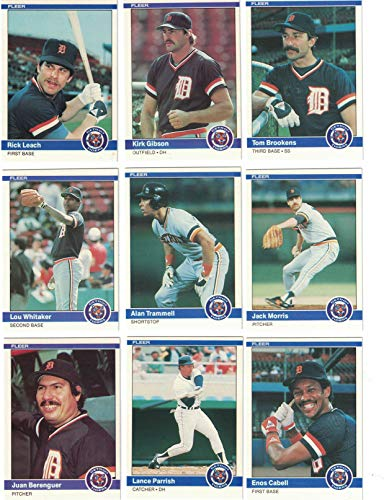 (Detroit Tigers/Complete 1984 Fleer Detroit Tigers Baseball Team Set with Jack Morris, Alan Trammell, Lou Whitaker and More. World Series Champs!)
