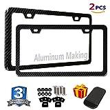 49ers license plate frame chrome - 2PCS License Plate Frames Carbon Fiber Metal & Screw Kits Fine Slim Standard Size For US Car
