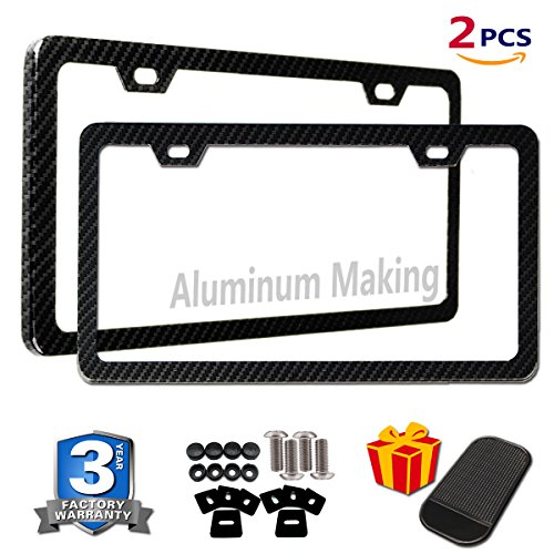 Hyundai License Plate - 2PCS License Plate Frames Carbon Fiber Metal & Screw Kits Fine Slim Standard Size For US Car