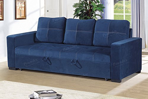 Poundex F6531 Polyfiber Fabric Convertible Sofa in Blue,