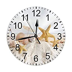 CCshopping Starfish Seashell on Sand Beach Ocean Summer 9.8 inches Round Wall Clock Silent Non Ticking, Battery Operated Wall Clocks
