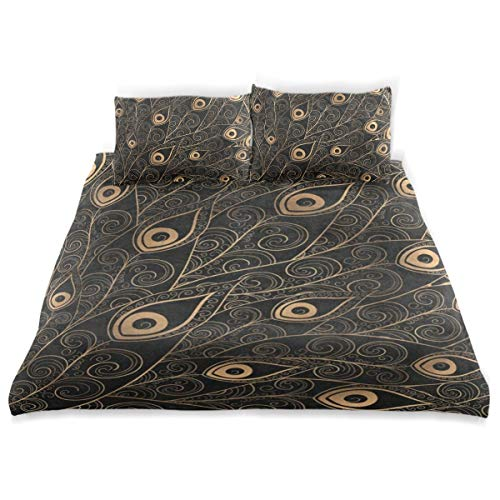 OSBLI Bedding Duvet Cover Set 3 Pieces Gold Black Peacock Feather Bed Sheets Sets and 2 Pillowcase for Teens