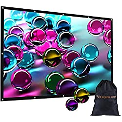 "120 inch Portable Projection Screen with Bag, GBTIGER 120"" 16:9 HD Foldable Indoor Outdoor Movie Screen for Home Cinema Theater Party Support Double-Sided Projection"