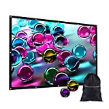 120 inch Portable Projection Screen with Bag, GBTIGER 120'' 16:9 HD Foldable Indoor Outdoor Movie Screen for Home Cinema Theater Party Support Double-Sided Projection