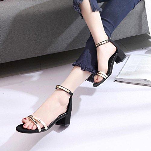 bescita Sommer Frauen High Heels Sandalen Open Toe Dicke Frauenschuhe (37, Schwarz)