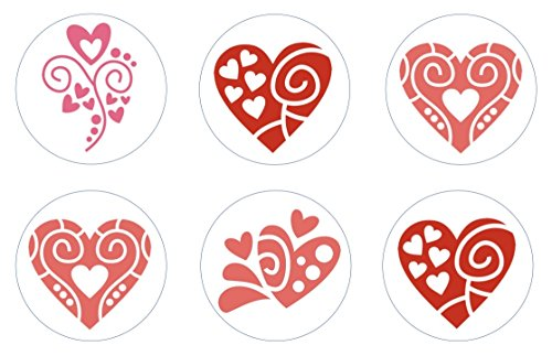 Valentine Heart Doodles Edible Cupcake Toppers