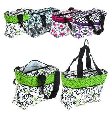 Arctic Star Insulated Cooler Floral Fashion Tote Bag with Carabiner Clip - Stunning Purple