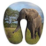 si fang Africa Elephant Green Trees Print U Shaped Pillow Memory Foam Neck Pillow for Travel and Relief Neck Pain Fashion Super Soft Cervical Pillows with Resilient Material Relex Pollow