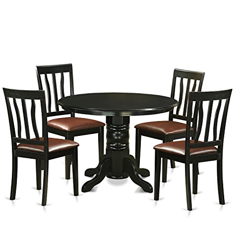 East West Furniture SHAN5-BLK-LC 5 Piece Table and 4 Dining Chair