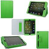 ProCase (TM) ipad mini case Slim Leather Folio Case for Apple iPad mini 7.9 inch Tablet, built-in Flip Stand, elastic hand strap and stylus loop, w/ sleep / wake feature (Green)