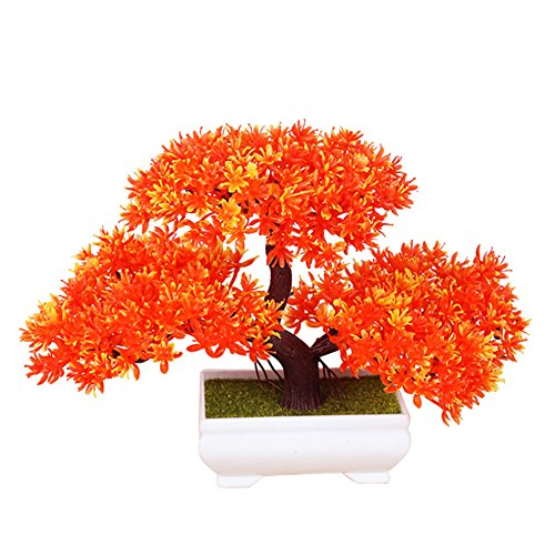 Frjjthchy Mini Artificial Bonsai Tree Plants with Plastic Cement Pots for Home Office Décor (Orange)