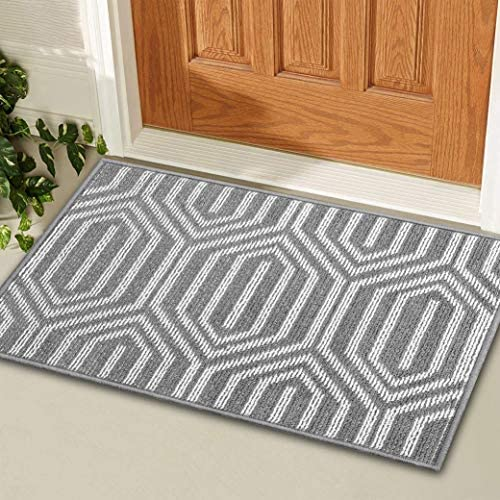 KMAT Indoor Door Mat and Extra Anti-Slip Gripper Pad, Non-Slip Absorbent Doormat Inside Floor Mats Area Rug for Entryway, Machine Washable Entrance Rug Outdoor 24inx36in, Grey Time Cloister