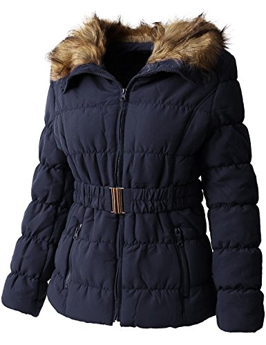 Ma Croix EC Womens Quilted Faux Fur Lined Belted Coat (Large/gj1133_navy)