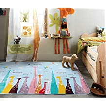 Ustide Giraffe Pattern Cute Animal Area Rugs Large Yoga Mat Baby Playing Mat Lovely Fairyland Colorful Carpet For Kids