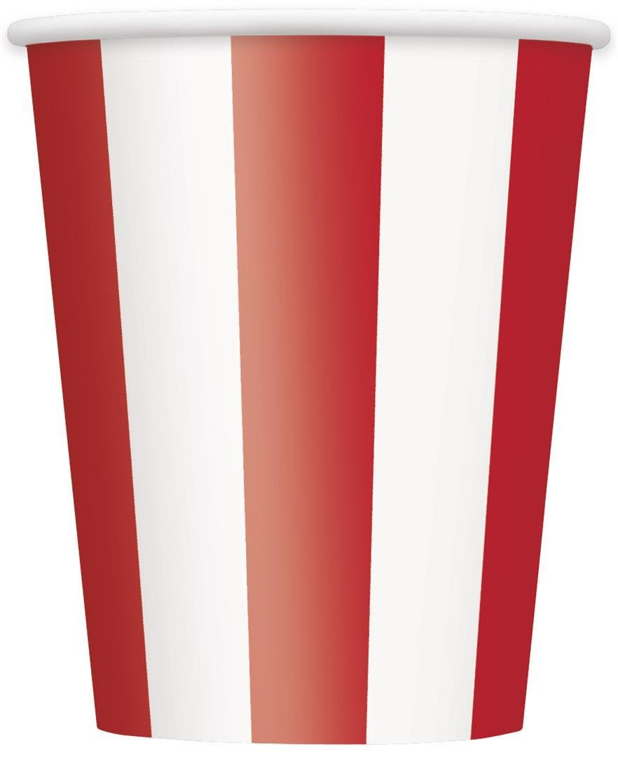 Pack of 6 Unique Party 37996-12oz Baby Pink Striped Paper Cups