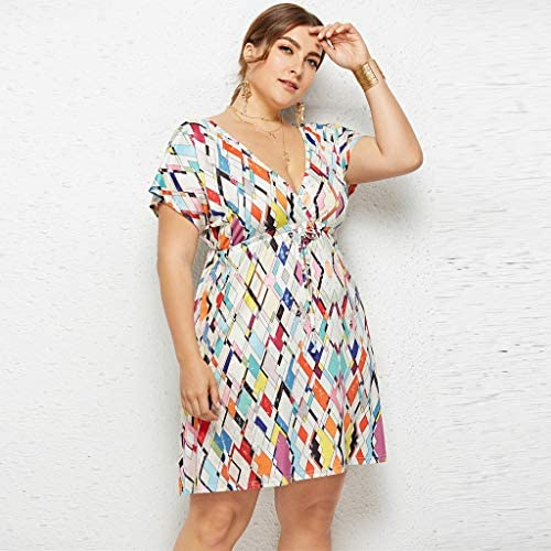 Innerternet-Vestido, Moda Gran tamaño Sexy Mini Vestido de Poliéster Plisado de Cintura Alta Delgado de Impresión geométrica de Color Sexy sin Espalda con Cuello en V para Vacaciones(Blanco, M-4XL): Amazon.es: Ropa y