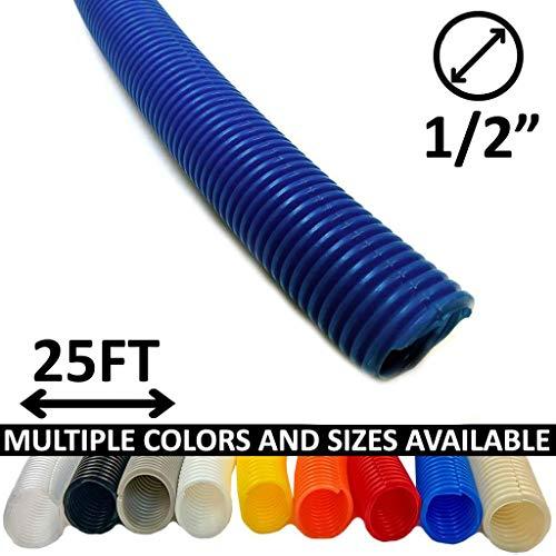 Electriduct 1/2 Split Wire Loom Tubing Polyethylene Flexible Conduit (0.5 Inch ID) - Blue - 25 Feet