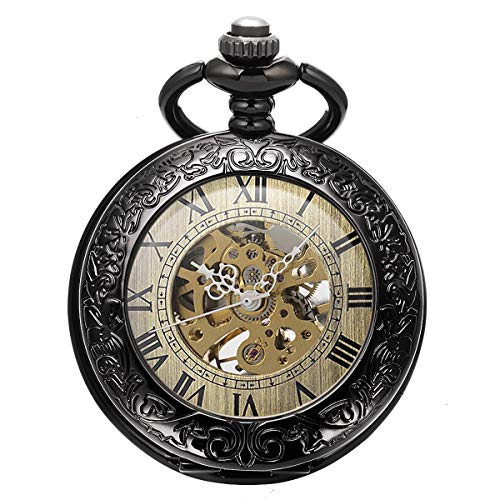 SIBOSUN Steampunk Skeleton Mechanical Black Fob Retro Pocket Watch Magnifier Antique Men Roman Numerals