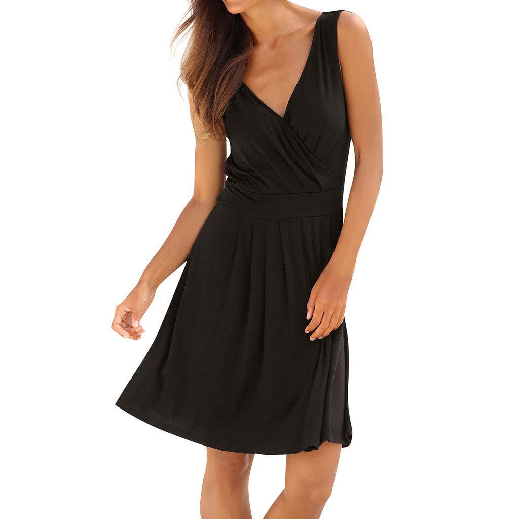 Womens Summer Dress,St.Dona Sexy Bohemian Solid Sleeveless V Neck High Waist Above Knee Dress Party Mini Dress Black